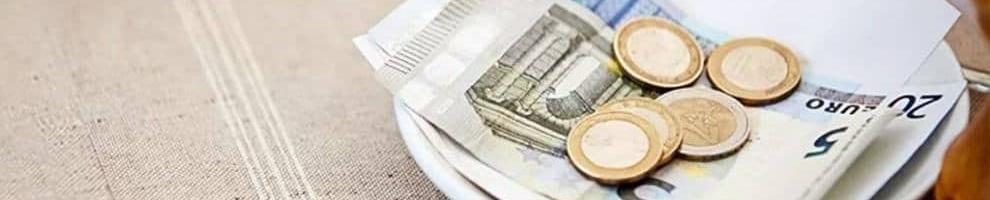Χαρτονομίσματα και κέρματα από Ευρώ σε πιατάκι για πληρωμή παράβολων μέσω του e-paravolo του Taxisnet & Gsis